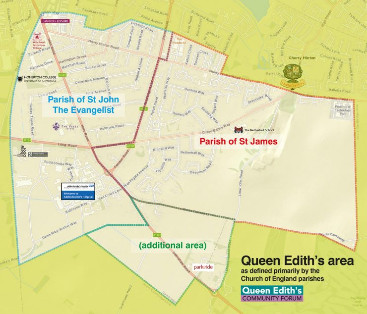 Queen Edith's boundaries based on the church parish boundaries