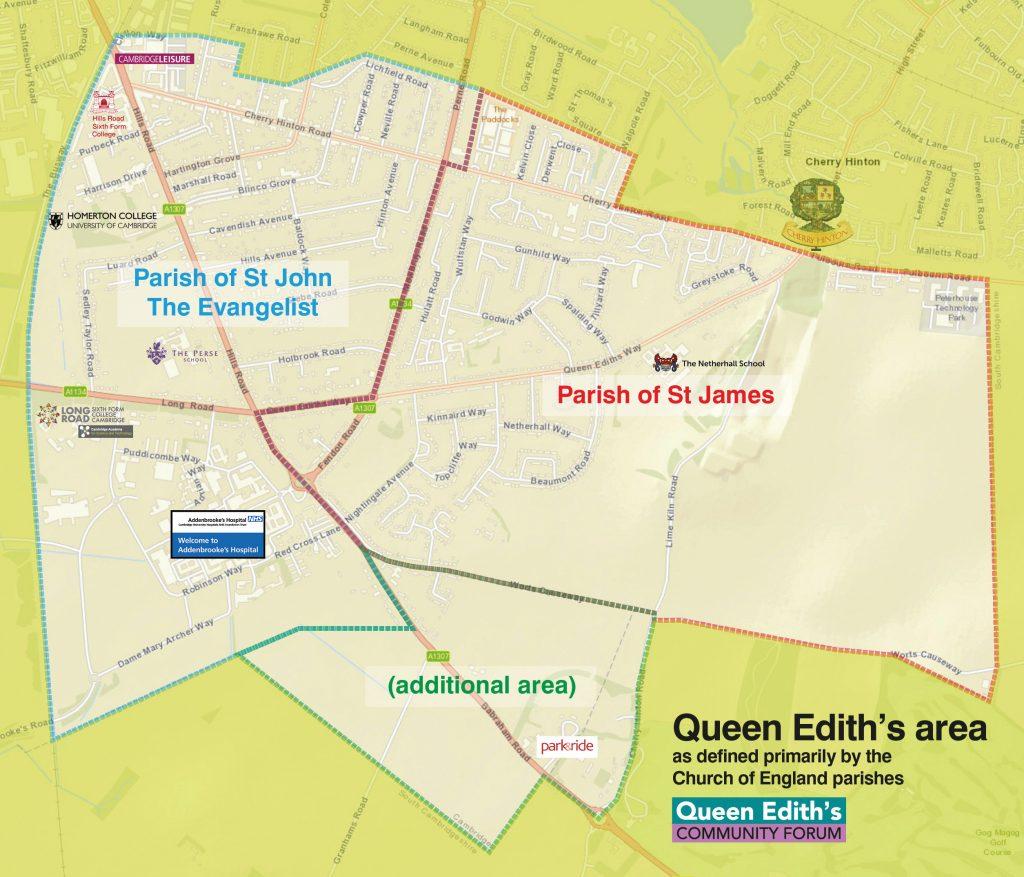 Queen Edith's boundaries based on the church parish boundaries
